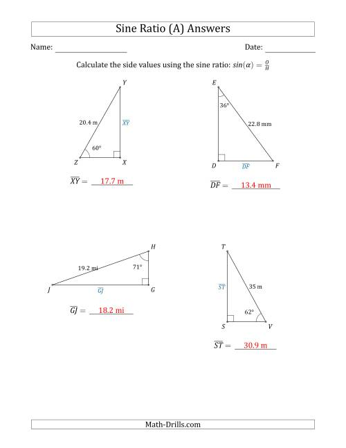 The Calculating Side Values Using the Sine Ratio (A) Math Worksheet Page 2
