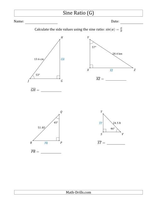 The Calculating Side Values Using the Sine Ratio (G) Math Worksheet