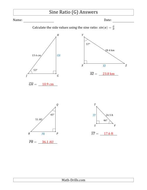 The Calculating Side Values Using the Sine Ratio (G) Math Worksheet Page 2