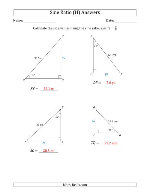 The Calculating Side Values Using the Sine Ratio (H) Math Worksheet Page 2
