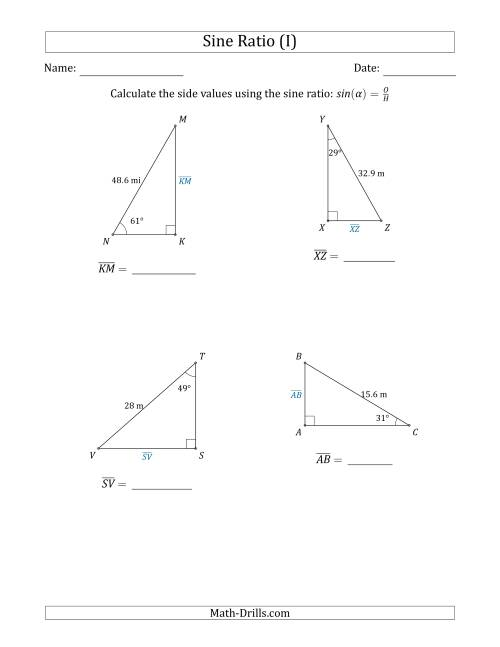 The Calculating Side Values Using the Sine Ratio (I) Math Worksheet