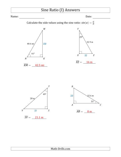 The Calculating Side Values Using the Sine Ratio (I) Math Worksheet Page 2