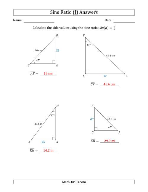 The Calculating Side Values Using the Sine Ratio (J) Math Worksheet Page 2