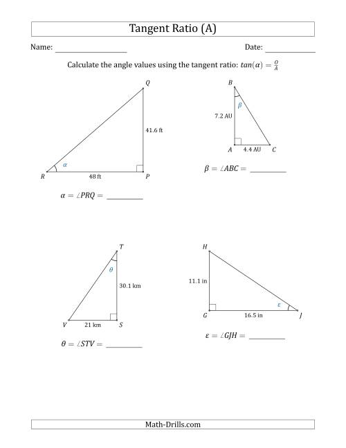 The Calculating Angle Values Using the Tangent Ratio (A) Math Worksheet