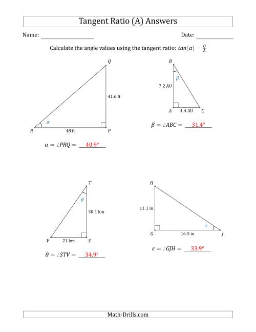 The Calculating Angle Values Using the Tangent Ratio (A) Math Worksheet Page 2