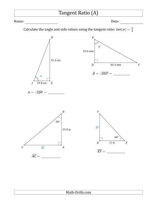 The Calculating Angle and Side Values Using the Tangent Ratio (A) Math Worksheet