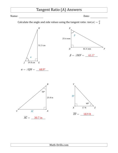 The Calculating Angle and Side Values Using the Tangent Ratio (A) Math Worksheet Page 2