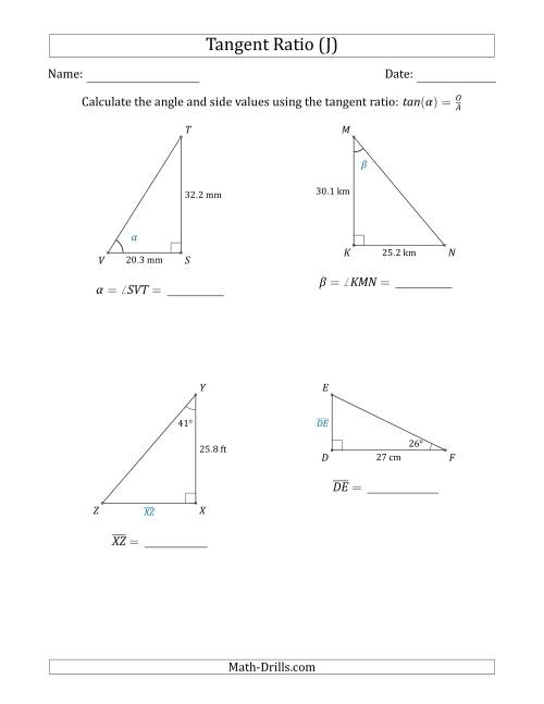 Calculating Angle and Side Values Using the Tangent Ratio (J)