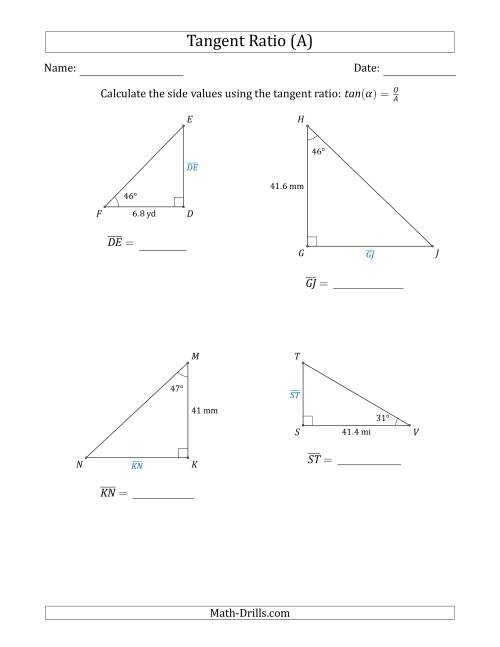 The Calculating Side Values Using the Tangent Ratio (A) Math Worksheet