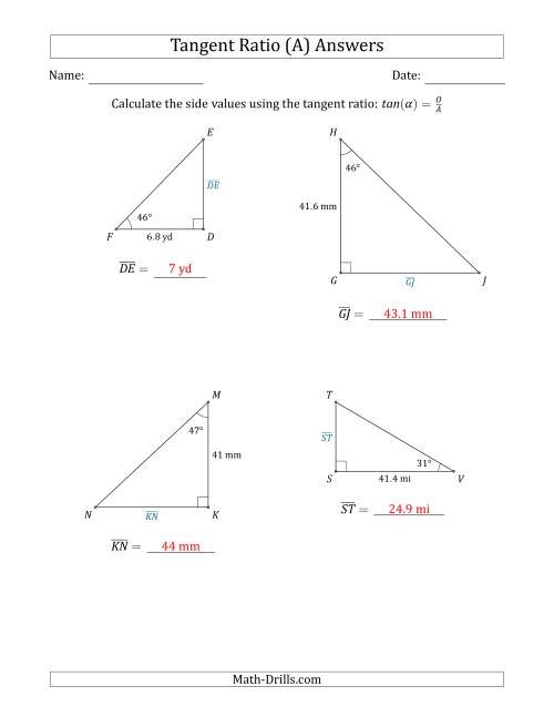 The Calculating Side Values Using the Tangent Ratio (A) Math Worksheet Page 2