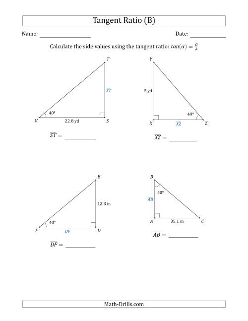 The Calculating Side Values Using the Tangent Ratio (B) Math Worksheet