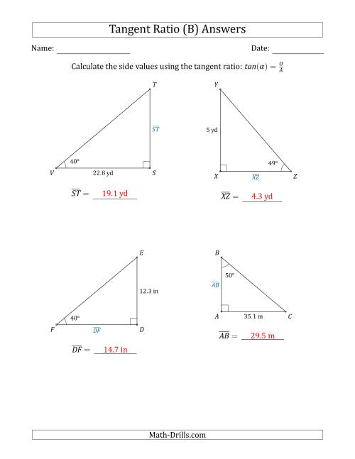 The Calculating Side Values Using the Tangent Ratio (B) Math Worksheet Page 2