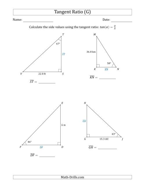 The Calculating Side Values Using the Tangent Ratio (G) Math Worksheet