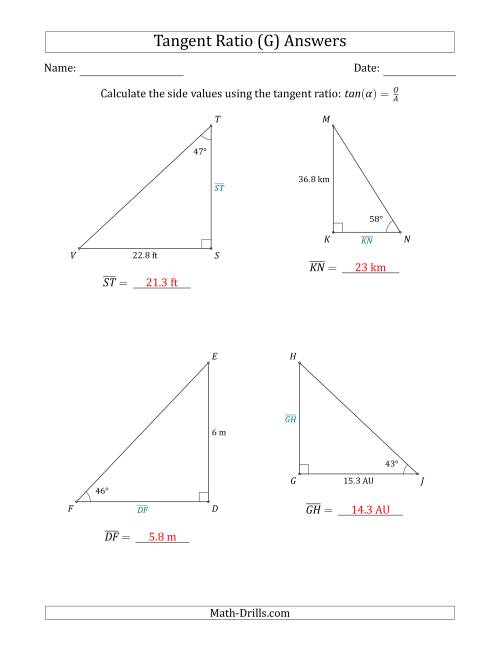 The Calculating Side Values Using the Tangent Ratio (G) Math Worksheet Page 2