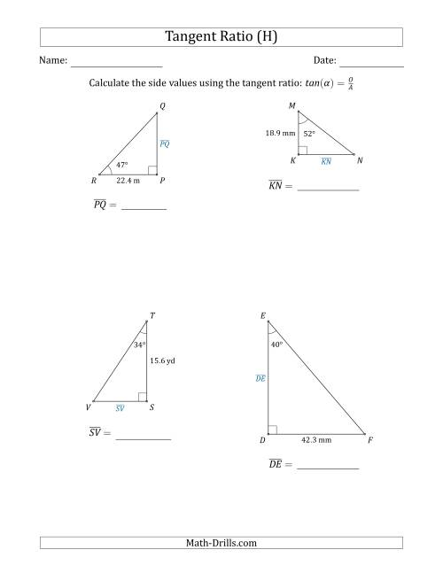 The Calculating Side Values Using the Tangent Ratio (H) Math Worksheet