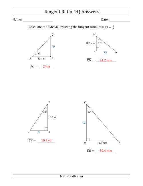The Calculating Side Values Using the Tangent Ratio (H) Math Worksheet Page 2