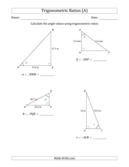 Calculating Angle Values Using Trigonometric Ratios (A)