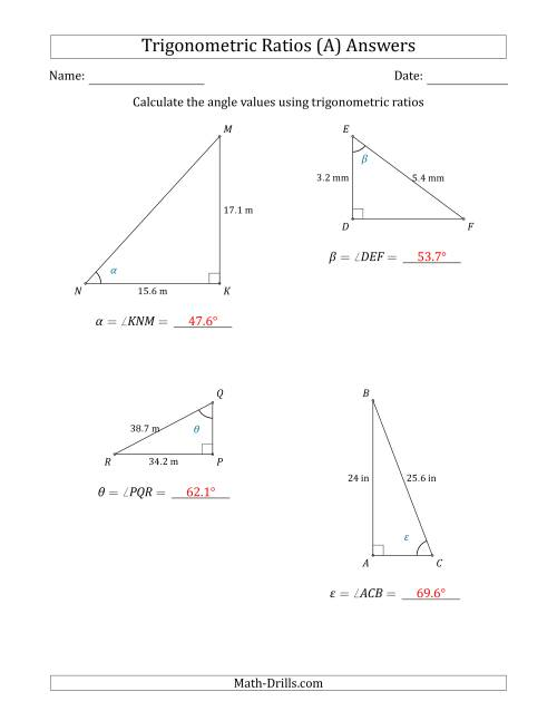 The Calculating Angle Values Using Trigonometric Ratios (A) Math Worksheet Page 2