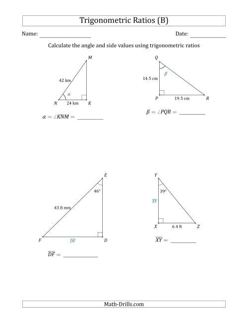 The Calculating Angle and Side Values Using Trigonometric Ratios (B) Math Worksheet