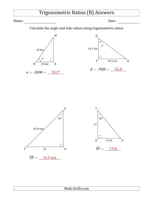 The Calculating Angle and Side Values Using Trigonometric Ratios (B) Math Worksheet Page 2