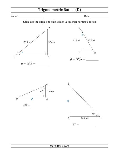 The Calculating Angle and Side Values Using Trigonometric Ratios (D) Math Worksheet
