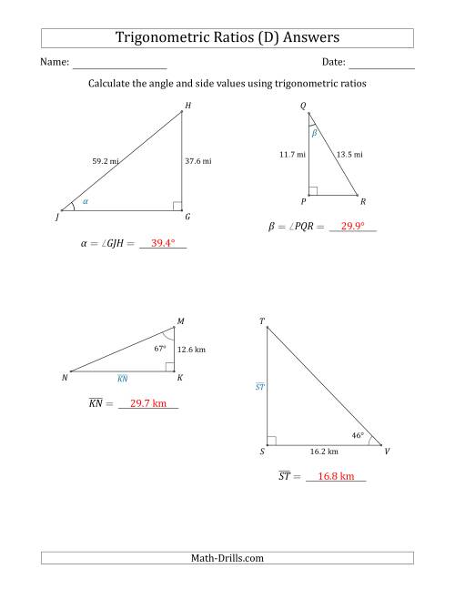 The Calculating Angle and Side Values Using Trigonometric Ratios (D) Math Worksheet Page 2