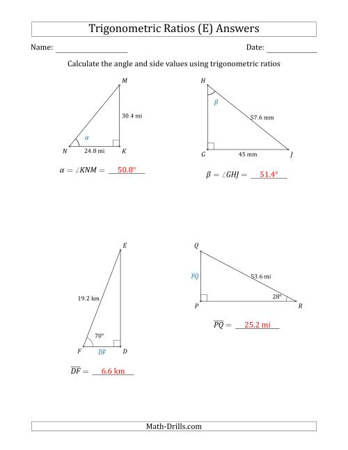 The Calculating Angle and Side Values Using Trigonometric Ratios (E) Math Worksheet Page 2