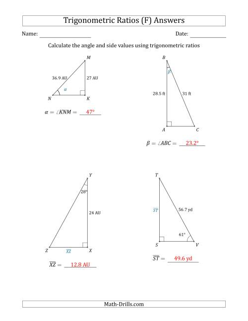 The Calculating Angle and Side Values Using Trigonometric Ratios (F) Math Worksheet Page 2