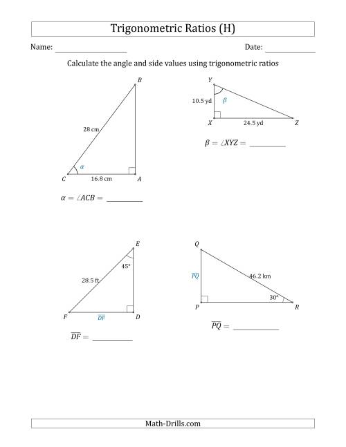 The Calculating Angle and Side Values Using Trigonometric Ratios (H) Math Worksheet