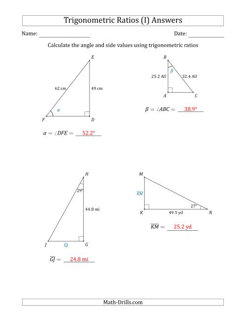 The Calculating Angle and Side Values Using Trigonometric Ratios (I) Math Worksheet Page 2