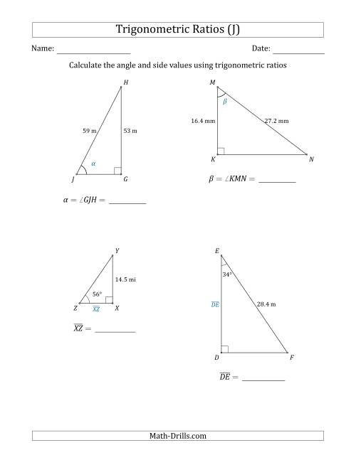 The Calculating Angle and Side Values Using Trigonometric Ratios (J) Math Worksheet