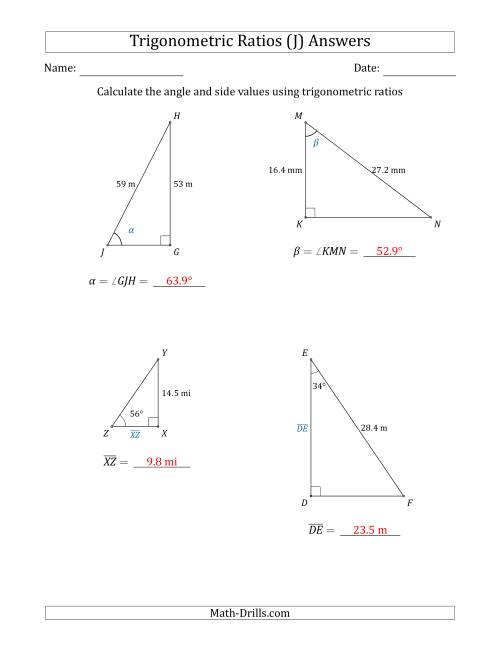 The Calculating Angle and Side Values Using Trigonometric Ratios (J) Math Worksheet Page 2