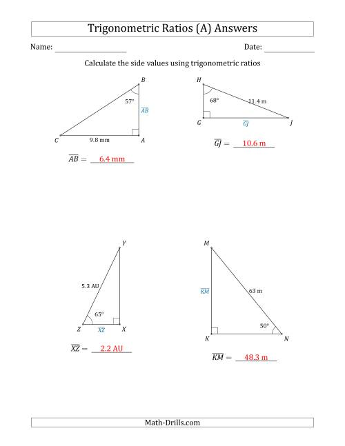 The Calculating Side Values Using Trigonometric Ratios (A) Math Worksheet Page 2