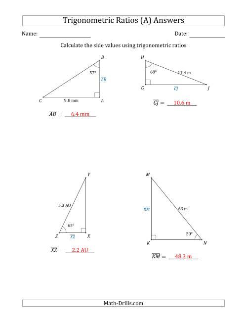 Tangent Ratio Worksheet / Trig Ratios Worksheet   Mychaume ...
