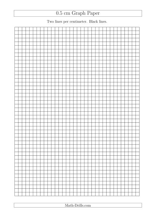 The 0.5 cm Graph Paper with Black Lines (A4 Size) (A) Math Worksheet
