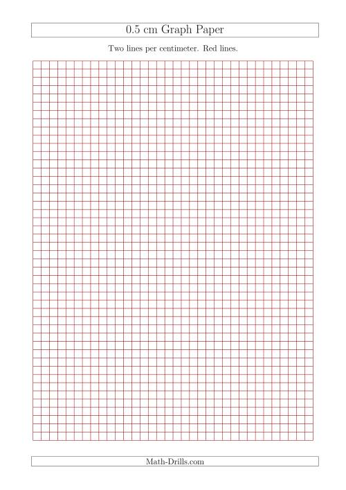 The 0.5 cm Graph Paper with Red Lines (A4 Size) (Red) Math Worksheet