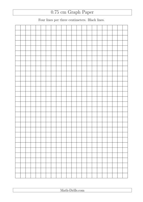 The 0.75 cm Graph Paper with Black Lines (A4 Size) (A) Math Worksheet