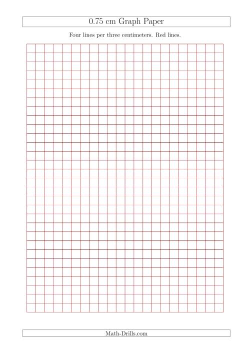 The 0.75 cm Graph Paper with Red Lines (A4 Size) (Red) Math Worksheet
