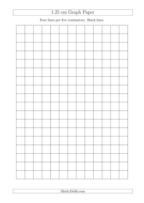 The 1.25 cm Graph Paper with Black Lines (A4 Size) (A) Math Worksheet