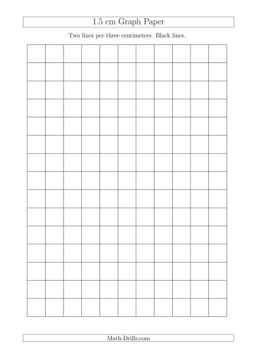 The 1.5 cm Graph Paper with Black Lines (A4 Size) (A) Math Worksheet