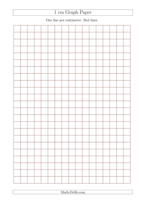 The 1 cm Graph Paper with Red Lines (A4 Size) (Red) Math Worksheet