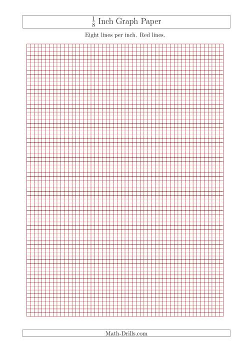 1/8 Inch Graph Paper with Red Lines (A4 Size) (Red)