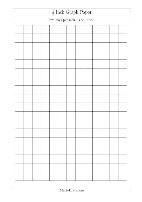 The 1/2 Inch Graph Paper with Black Lines (A4 Size) (Black) Math Worksheet