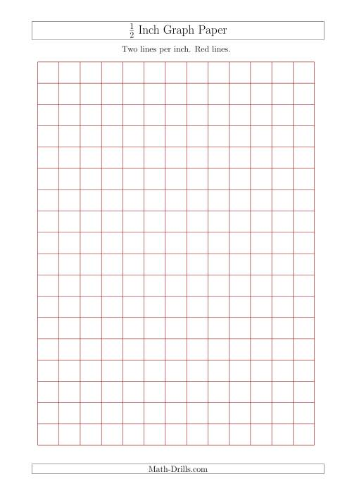 1/2 Inch Graph Paper with Red Lines (A4 Size) (Red)