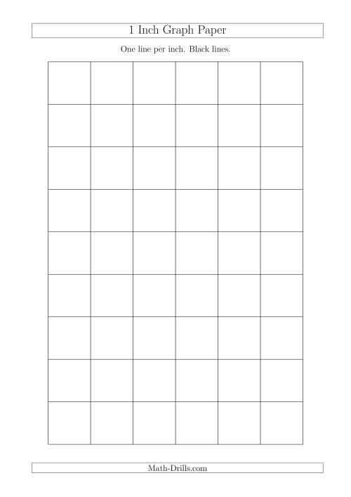 The 1 Inch Graph Paper With Black Lines (A4 Size) Math Worksheet