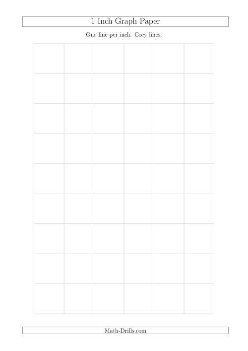The 1 Inch Graph Paper with Grey Lines (A4 Size) (Grey) Math Worksheet