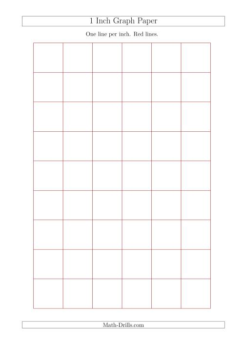 The 1 Inch Graph Paper with Red Lines (A4 Size) (Red) Math Worksheet