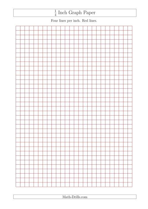 The 1/4 Inch Graph Paper With Red Lines (A4 Size) (Red