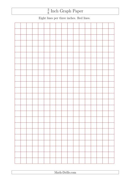 The 3/8 Inch Graph Paper with Red Lines (A4 Size) (Red) Math Worksheet