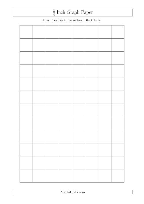 The 3/4 Inch Graph Paper with Black Lines (A4 Size) Math Worksheet